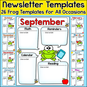 Newsletter Template Editable for Any Language - Frog Theme Classroom