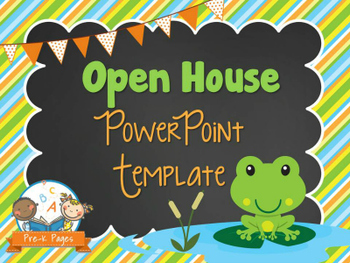 frog theme open house ~ back-to-school ~ powerpoint template, Modern powerpoint