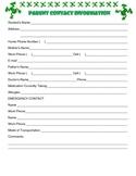 {Frog Theme} Parent Contact Information Sheet {English & Spanish version}