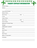 {Frog Theme} Parent Contact Information Sheet {English & S
