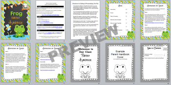 Frog Theme Parent Handbook Back-to-School {personalize it}