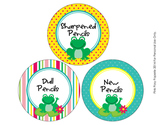 Frog Theme Pencil Caddy Labels