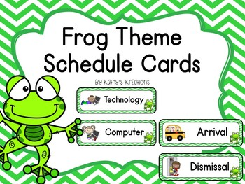 Frog Schedule Cards -Green Chevron