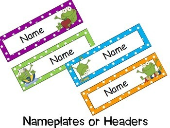 Frog Theme Signs, Binder Covers, Labels and Nameplates {Editable}