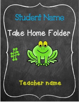 Frog Theme Take Home Folder Insert