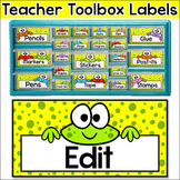 Teacher Toolbox Supply Labels - Frog Theme Classroom Decor
