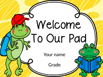 Frog Theme Welcome To Our Pad -Editable
