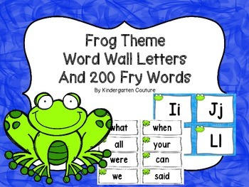 Frog Theme Word Wall Letters and 200 Fry Words