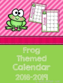 Frog Themed 2018-2019 School Year Calendar
