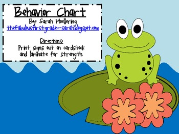Frog Themed Behavior Chart (clip-up, clip-down)