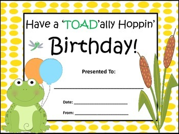 Frog Themed Birthday Certificates in 9 Different Colors! (Black Outline)
