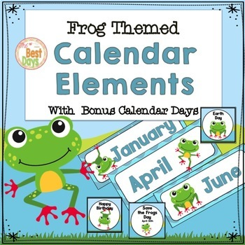 Frog Themed Calendar Headers, Numbers and Special Days