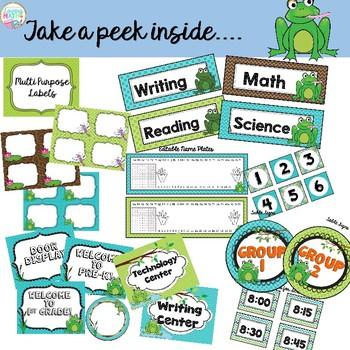 Frog Theme Classroom Decor - EDITABLE