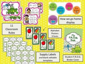 Editable Frog Themed Classroom Decor- Pink and Green Chevron BUNDLE