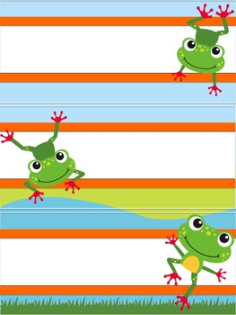 Frog Themed Classroom Decor: Editable Name Plates in a Frog Theme