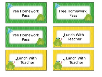 Frog Themed Classroom Management Positive Reward Tickets Editable