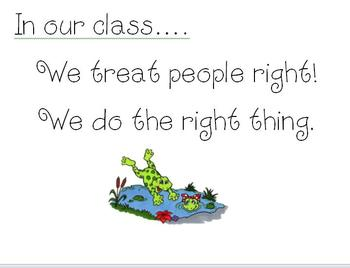 Frog Themed Classroom Management signs