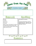 Frog Themed Classroom Newsletter
