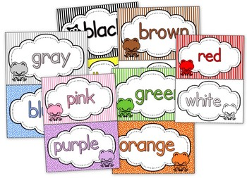 Frog Themed Color Word Cards // Posters