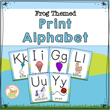 Frog Themed  Decor Alphabet Posters:  Print Alphabet in a Frog Theme