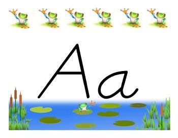 Frog Themed D'nealian ABC