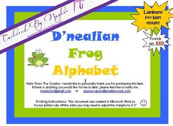 Frog Themed - D'nealian Styled Alphabet