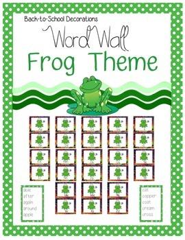 Frog Themed Editable Word Wall
