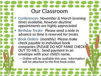 Frog Themed Meet The Teacher, Open House, Back To School Night PowerPoint