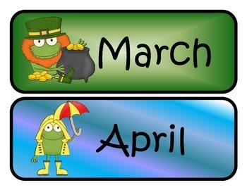 Frog Themed Monthly Calendar Headers
