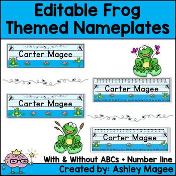 Frog Themed Editable Name plate / Desk plate / Name tags