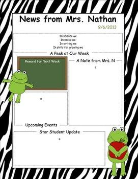 Frog Themed Newsletter