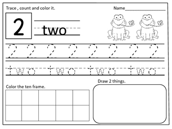 Frog Themed Number Practice Pages (1- 20):