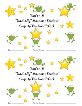 Frog Themed Star Student Certificates