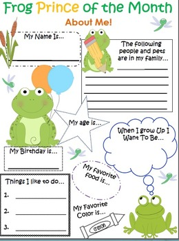 Frog Themed Student of the Month About Me Bulletin Board Pack