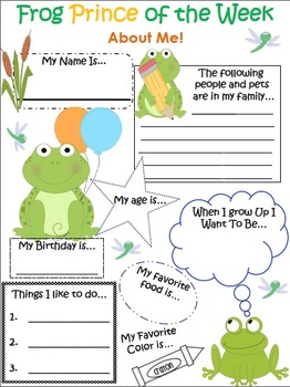 Frog Themed Student of the Week About Me Bulletin Board Pack
