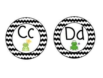 Frog Themed Word Wall Alphabet with Black Chevron: