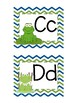 Frog Themed Word Wall Alphabet with Blue and Apple Green Chevron Patterns: