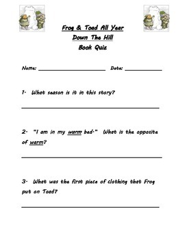 Frog & Toad All Year Guided Reading Packet
