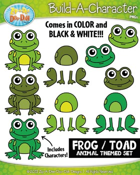 Frog / Toad Build-A-Character Clipart Set — Includes 25+ G