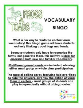 Frog & Toad Vocabulary Bingo