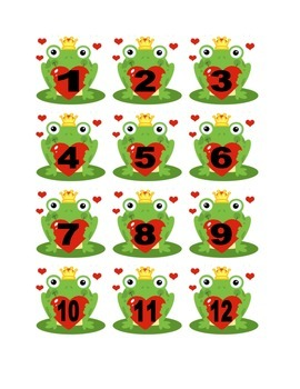 Frog Valentine Numbers for Calendar or Counting Activity