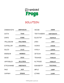 Frog Vocabulary Word Scramble Puzzle