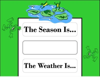 Frog Weather Chart! Frog Bulletin Board! Frog Theme! Frog Decor!