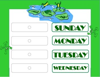 Frog Weekday Chart! Frog Bulletin Board! Frog Theme! Frog Days of the Week!