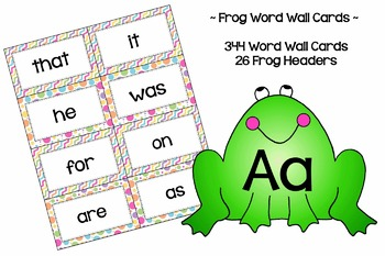 Frog Word Wall Cards - High Frequency - With Headers {& Editable file}