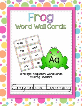Frog Word Wall Cards - High Frequency - With Headers {& Ed