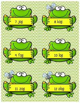 Frog Write the Room -og and Nonsense Words
