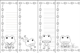 Frog Writing Paper - Black and White - 3 Styles