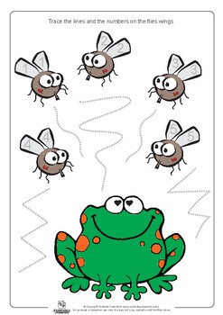 Frog and Flies Lines and Numbers Tracing Worksheets