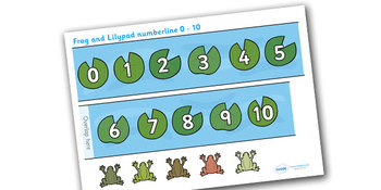 Frog and Lilypads Numberline 0-10